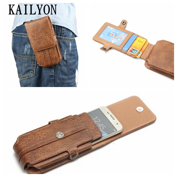 Leather Pouch Belt Clip Hook Loop Shockproof Phone Case Cover Bag Holster For Multi Smart Phone Smartphone 5.5 inch