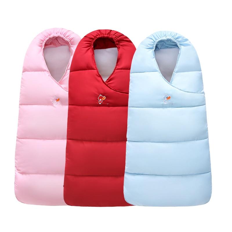 все цены на Baby Sleeping Bag Thick Warm Cotton Baby Swaddle For Newborns Solid Color Baby Sleep Sack For Winter Baby Stroller Sleeping Bag