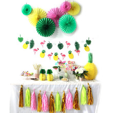31pcs/set Summer Party Decoration Kit Banners Tropical Birthday Flamingos And Pineapples Wedding Celebration Luau Decor Sale