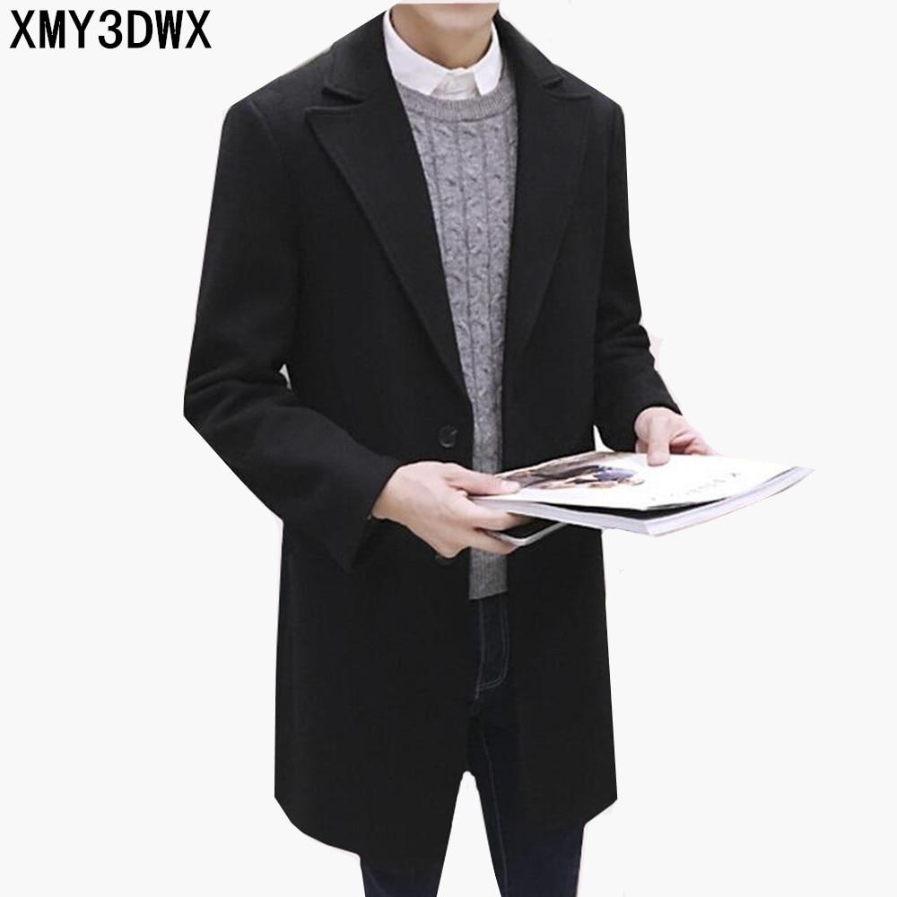 2019 new arrival winter wool gray   trench   coat Men single Breasted   Trench   Coat Men Outerwear Casual Coat Men's Jacket Windbreaker