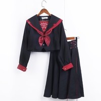 2018 Spring Japanese School Uniforms for Girls Magic array embroidery Shirt+Long Skirt Fashion Style Students Clothes Black red
