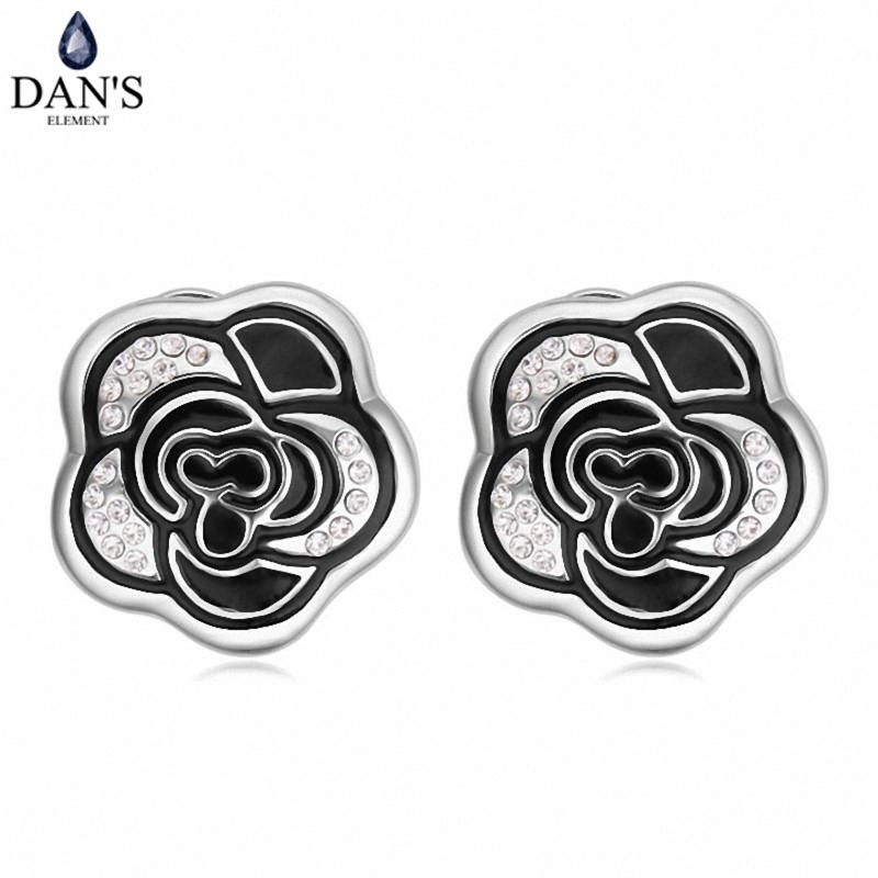 DANS 5 Colors Real Austrian crystals Stud earrings for women Earrings s New Sale Hot Round 120685