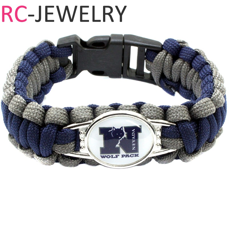 54# NCAA Nevada Wolf Pack Survival Paracord Bracelet for Men for Sports Football Fans Gi ...