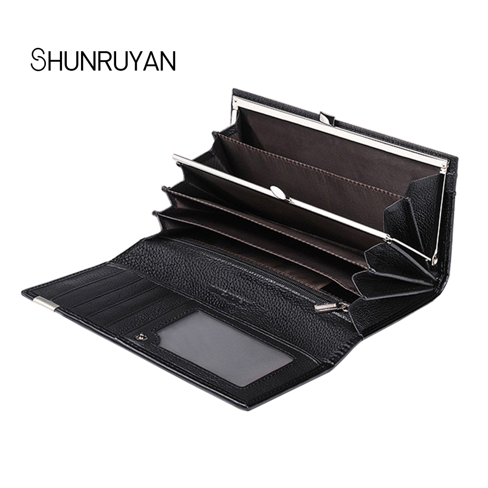 SHUNRUYAN New Womens RFID Large Capacity Wallets cowhide genuine Leather Red Wallet crocodile pattern Clutch Purse