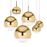 GZMJ Hanging Classic Electroplate LED Pendant Light luminaire Suspendu Pulley Lamps Mirror Durface Star Ball For Palor Home Bar