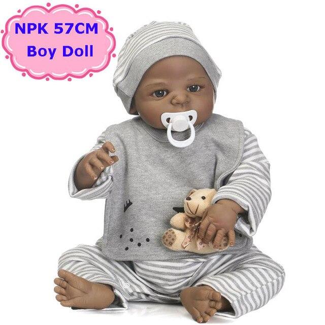 Npk Новый Дизайн 57 см полный силиконовые Bebe Кукла реборн Игрушечные лошадки Реалистичные Черный кожи кукла мальчик ребенок день рождения/Рождество подарок Обувь для девочек Brinquedos