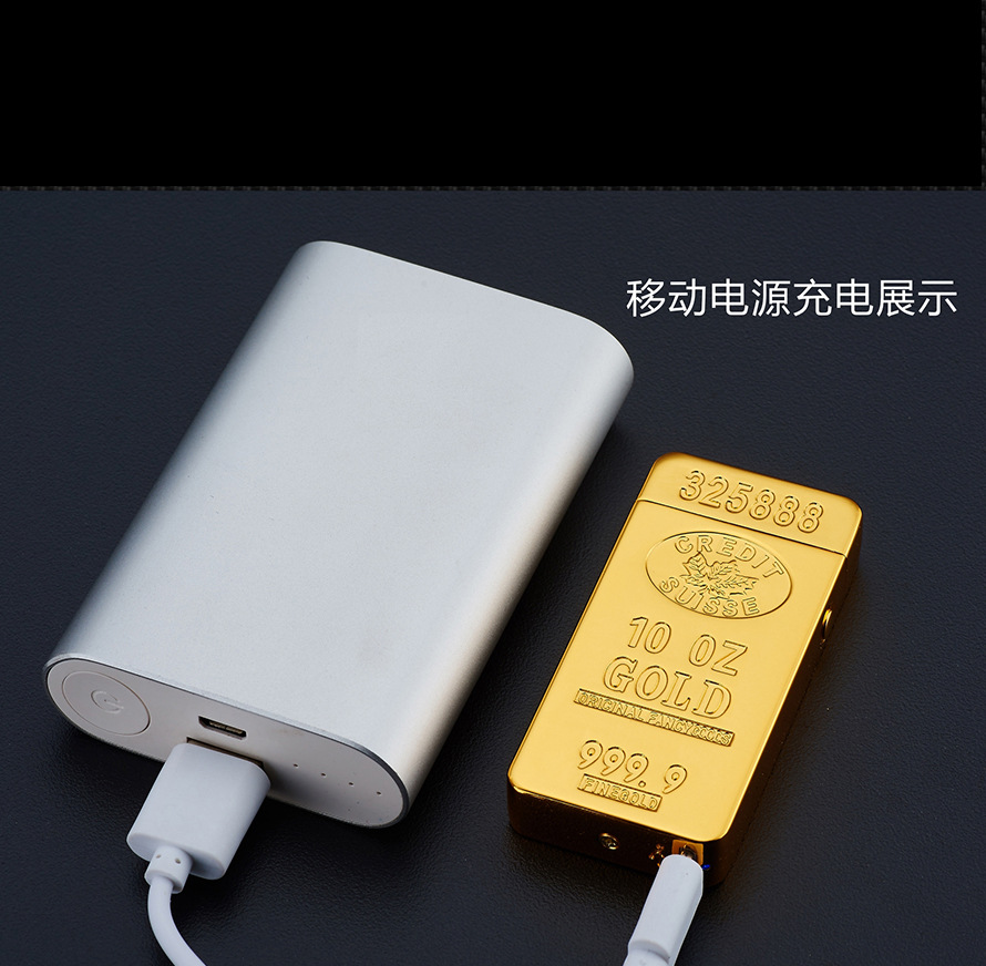 Image 5 - USB Lighter Electronic Rechargeable Lighter Plasma Bullion Pulsed Arc Lighter Windproof Thunder Gold Brick Metal-in Cigarette Accessories from Home & Garden