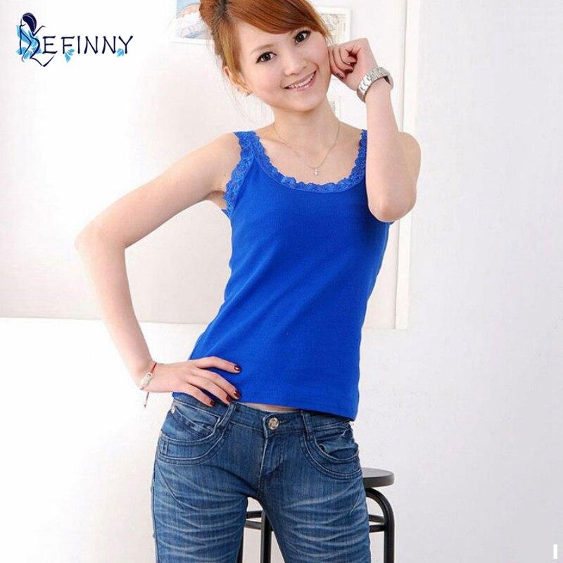 EFINNY 6 Color Summer Sleeveless Lace Vest Slim Cami Crop Tops