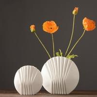 White Ceramic Dried Flower Vase Decoration Flower Flower Home Decoration Soft Decoration