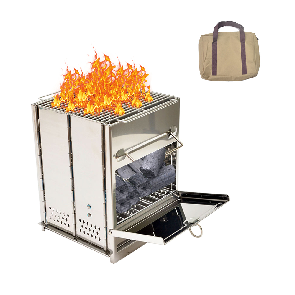 Camp Stove, Picnic BBQ Cooker, Stainless Steel Potable Folding Stove,Coal and Wood Burning  for Outdoor with Handle Bag