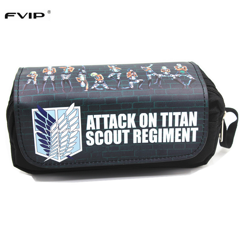 FVIP Anime Cosmetic Cases Cartoon Pencil Case Attack On Titan /Fate Stay Night/Pokemon Make Up Bag