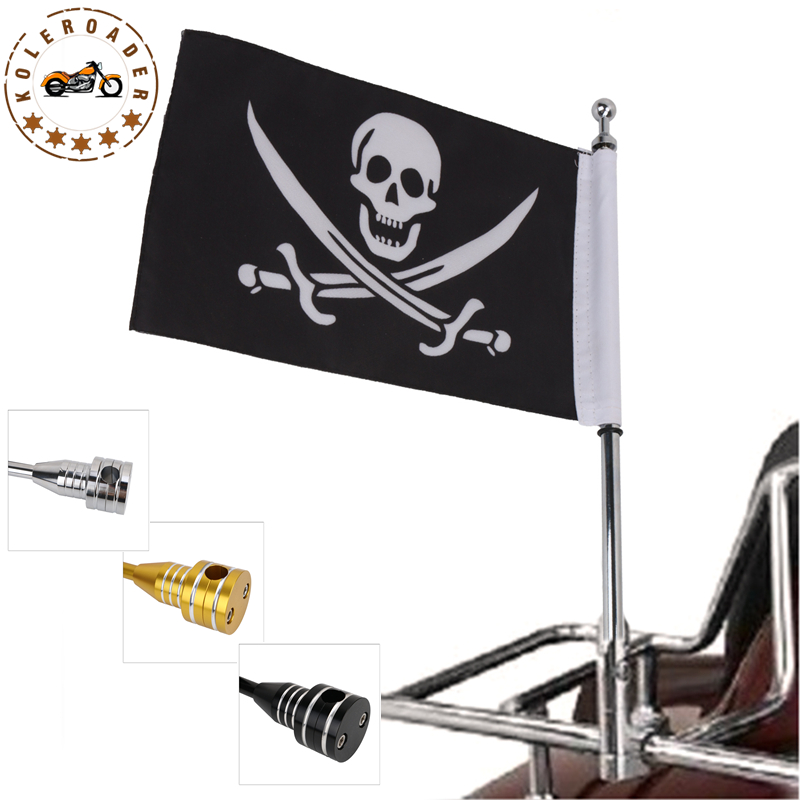 Motorcycle Rear Side Mount Luggage Rack Cool Skull Pirate Flag Pole For Harley Sportster XL 1200 883 48 Yamaha Ducati MBG001 partol black car roof rack cross bars roof luggage carrier cargo boxes bike rack 45kg 100lbs for honda pilot 2013 2014 2015