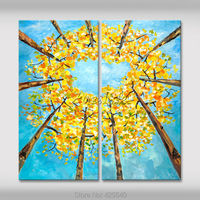 2 Piece Hand Painted Palette Knife White Tree Oil Painting Wall Art Canvas Picture Modern Abstract