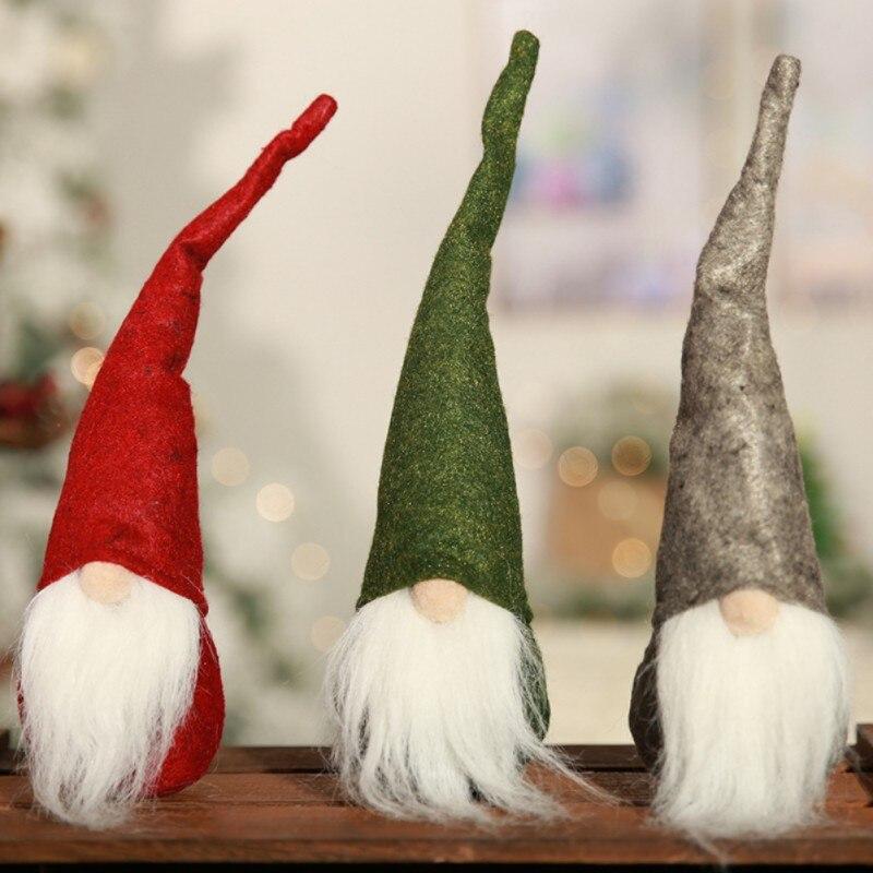 Mini Swedish Christmas Santa Claus Tomte Long Hat Gnome Plush Doll Handmade Home Decor Favorite Dolls Desktop Figurine Ornament