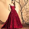 Largo de color rojo oscuro vestido de noche de encaje lentejuela robe de soirée Sexy opacidad una línea para mujer de noche Formal vestidos vestidos
