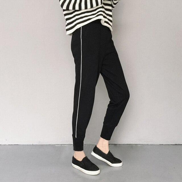 Korean Black Striped Women's Pants Autumn Cotton High Quality Casual Pants Feet Drawstring Loose Mouth Stretchy Haren Pants