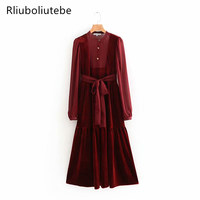 Vintage Wine Red Velvet Long Dress With Belt Lace Up Bow Solid Women Long Sleeves Stand Collar Work Office Elegant Party Dress