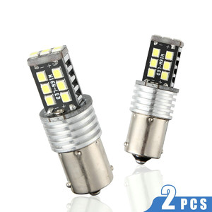 Image 2 - Nuevas lámparas LED para coches 1156 P21W BA15S 2835 15LED Canbus coche marcha atrás bombilla de luz trasera blanca intermitente Luz