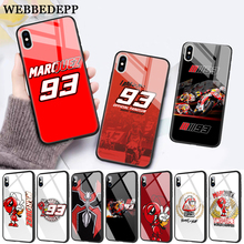 WEBBEDEPP Marc Marquez Moto Gp 93 Glass Phone Case for Apple iPhone 11 Pro X XS Max 6 6S 7 8 Plus 5 5S SE все цены