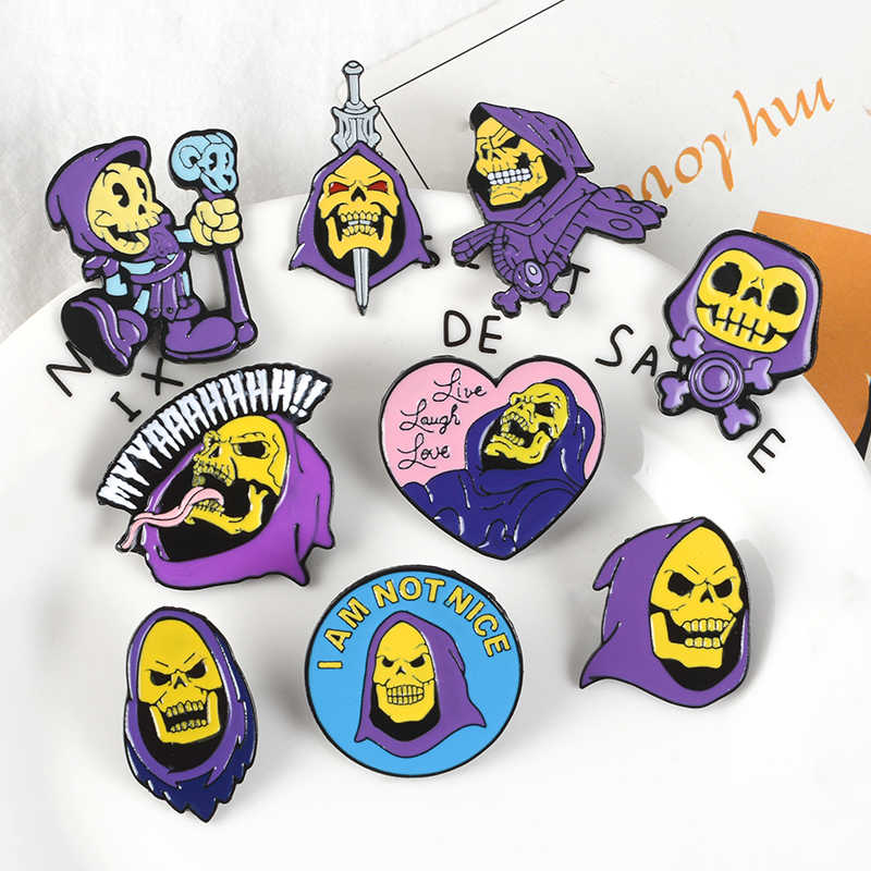 Skeleton Skull Punk Pins Anime OVERLORD Character Brooches Badges Backpack Enamel pins Gifts For Anime fans Jewelry wholesale