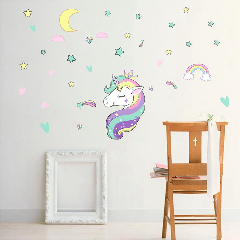 Diy Colorful Rooms: Diy Colorful Animals Horse Stars Wall Decals Unicorn Wall