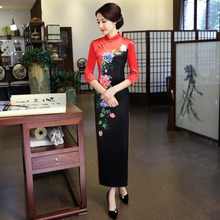 2017 New Black Lace Handmade Button Mandarin Collar Cheongsam Chinese Traditional Print Qipao Flower Short Dress S-XXL LGD66-A crane print mandarin collar dress
