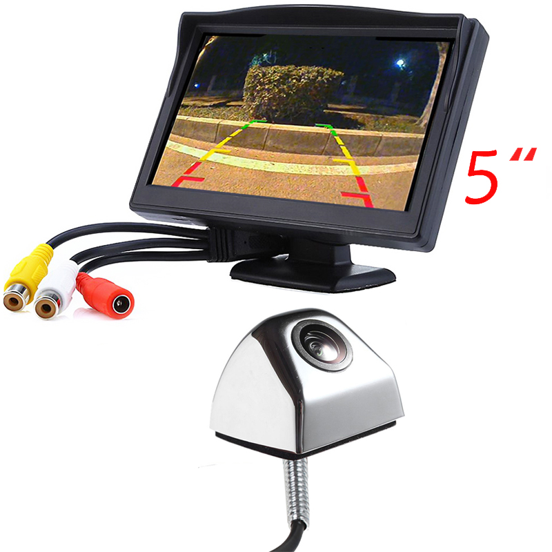 5 inch LCD car minitor+car reverse rear view camera 3 colors for sony ccd camera for Skoda VW BMW Toyota Nisssan Mazda etc. стоимость