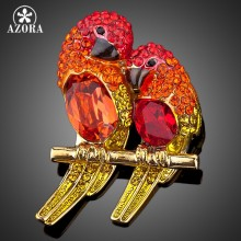 Azora Dua Burung Merah Warna Emas Kristal Fashion Kostum Pin Bros TP0009(China)