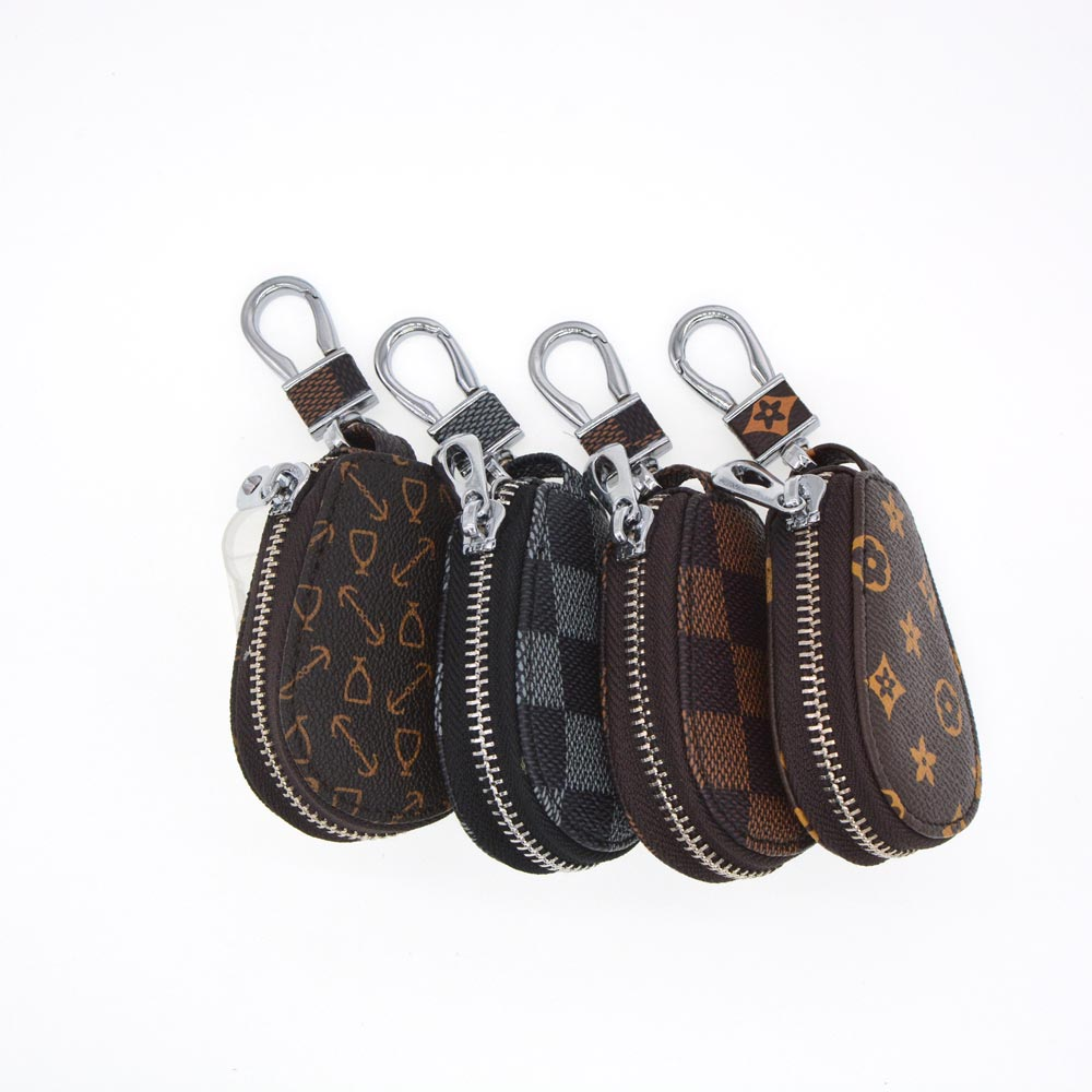 Genuine Leather Car Key Wallets Men&Women Housekeeper Keys Organizer Key chain Zipper Key Case Bag Pouch Purse