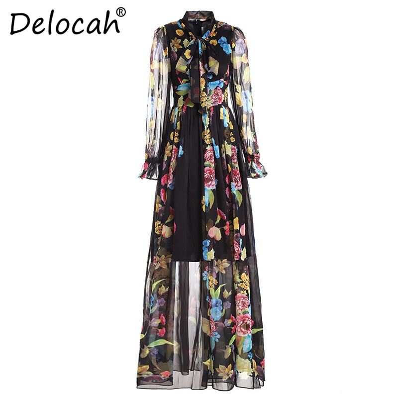Delocah 5XL Plus size Women Maxi Dresses Runway Fashion Design Long Sleeve Bow Collar Chiffon Flower