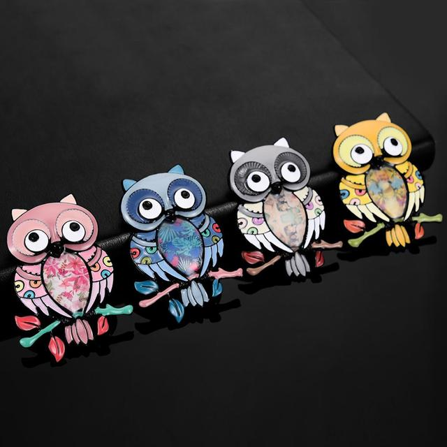 Pink Owl Brooches