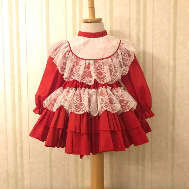 Spring Autumn Girl Vintage Spanish Dress Pompon Ball Princess Dress Lace Lolita Christmas Party Dress for