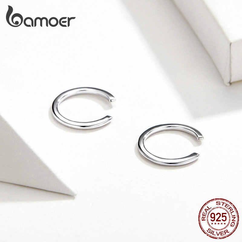 Bamoer minimalista orelha manguito 925 prata esterlina simples círculo clipe brincos para mulheres e homens moda jóias sce647