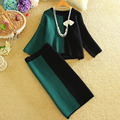 De dos Piezas de Otoño Invierno Mujeres Casual Contraste Suéter Tops + Rodilla-Longitud Faldas Establece Mujer Loose Knitting Pullover falda