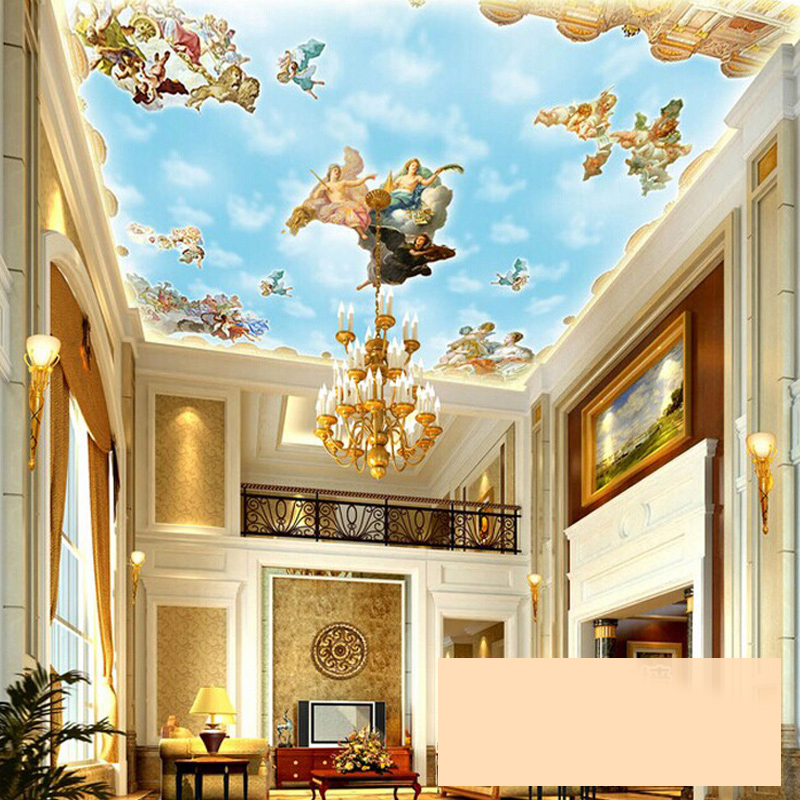 Large custom european style angel ceiling mural wallpaper for Ceiling mural in smokers lounge