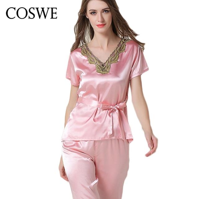 COSWE XXL Summer Womens Pijama Sets White Pink Satin Silk ...