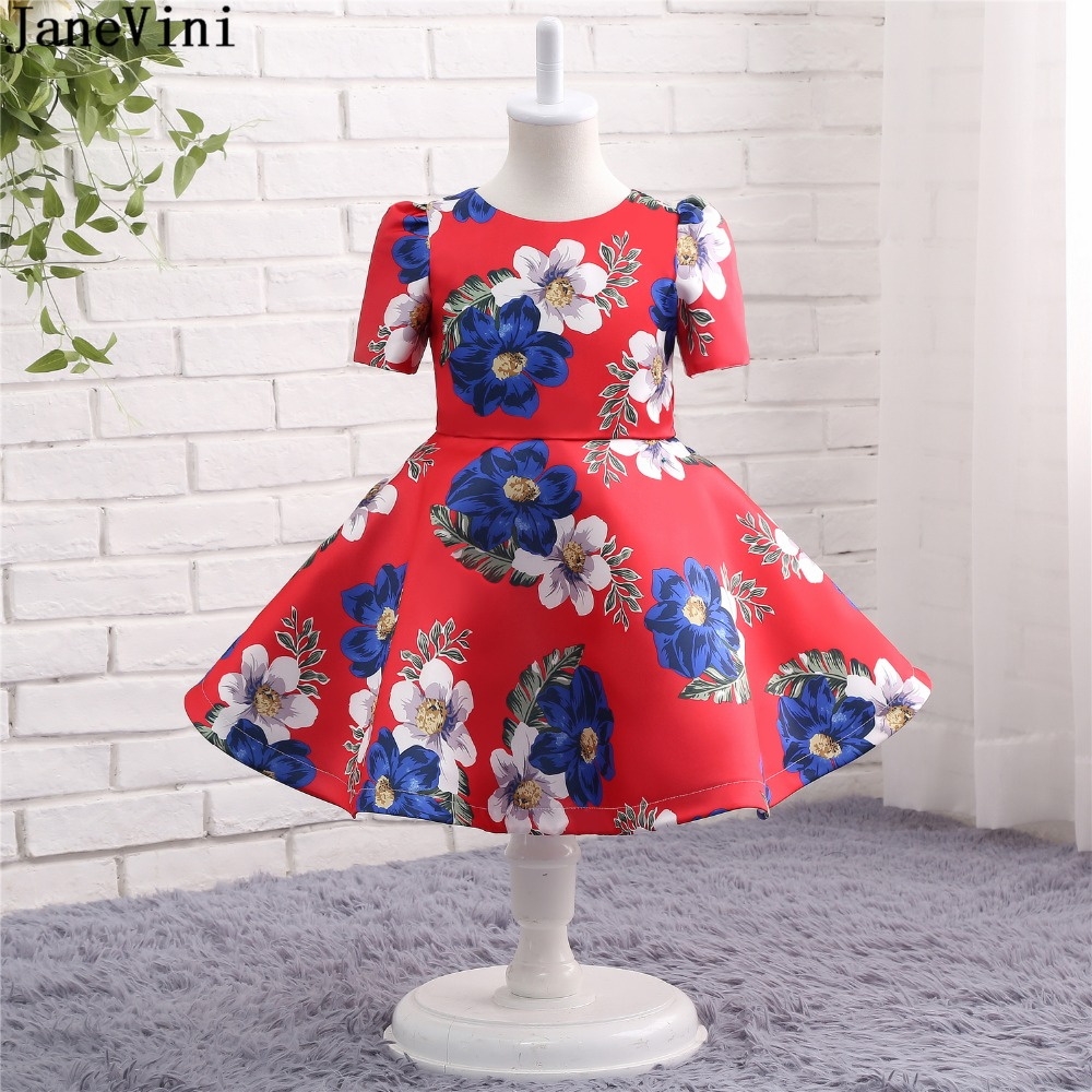 JaneVini 2019 Elegant Ball Gown Satin   Flower     Girl     Dresses   Short Sleeve Print Pattern Zipper Back Knee Length   Girls   Pageant Gowns