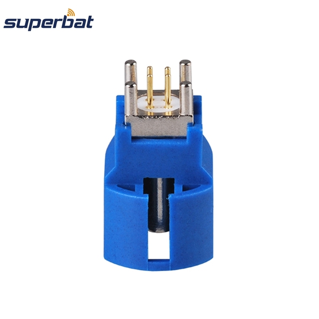 Superbat 10pcs Fakra C Blue HSD Jack PCB Mount Straight 50ohm RF Coaxial Connector for Wireless and GPS Application