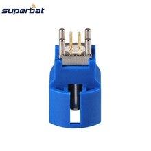 Superbat 10pcs Fakra C 블루 HSD 잭 PCB 마운트 스트레이트 50ohm RF 동축 커넥터 무선 및 GPS 응용 프로그램에 대 한