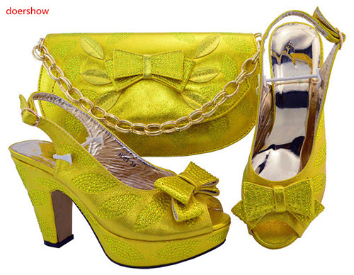 doershow yellow African Italian Shoes and Bag Set Women Shoes and Bag Set In Italy Ladies Matching Shoes and Bag Sets TGF1-37 doershow latest african matching shoes and bag set beautiful design european ladies slipper and bags sets free shipping sgf1 45