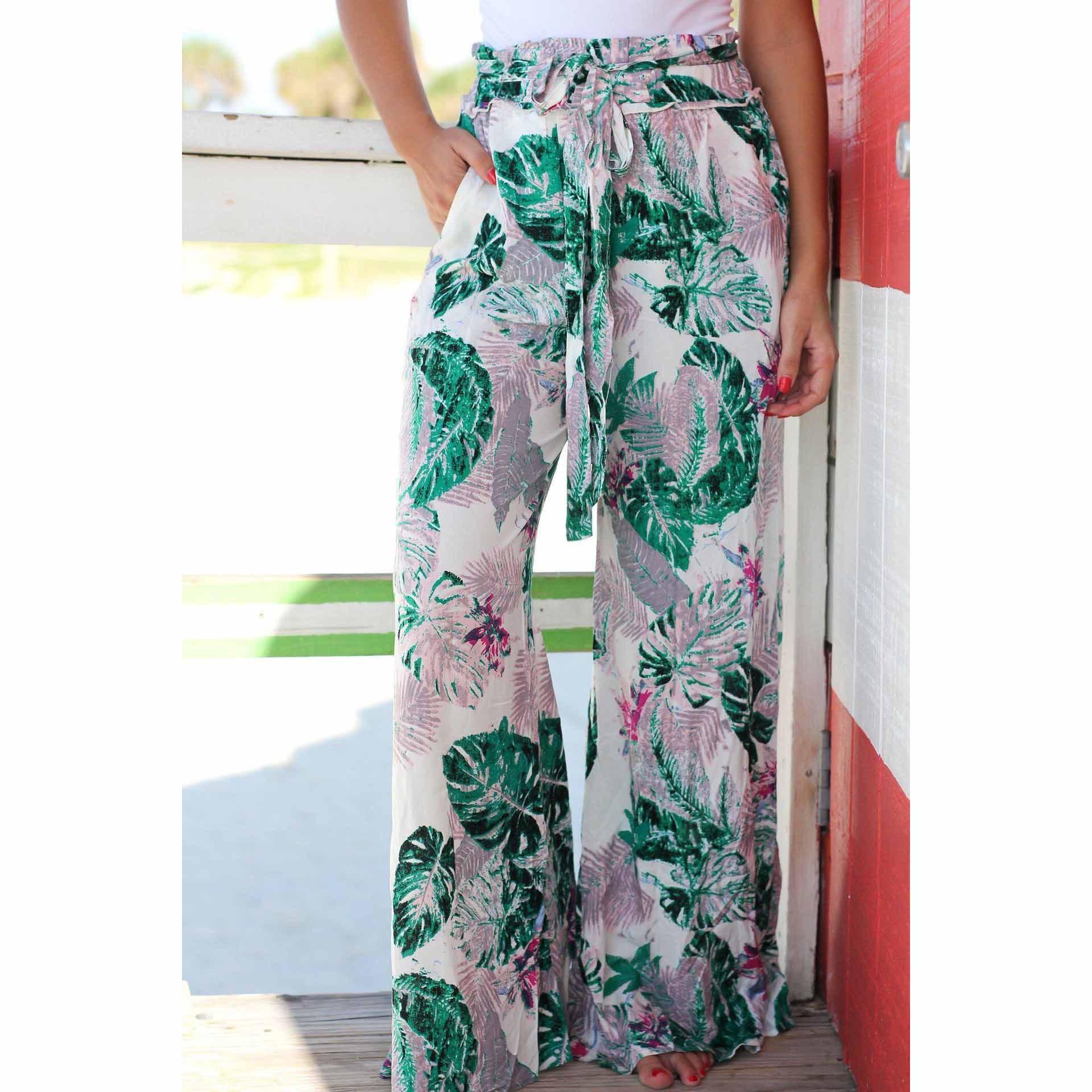 UPONACT 2019 Boho Women Wide Leg Pocket Summer Casual Loose Elastic High Waist