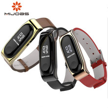 Купить с кэшбэком Mijobs Crazy Horse PU Strap For Xiaomi Mi Band 3 Smart Watch Screwless Bracelet mi band 3 Strap Miband 3 Strap Screwless Wrist