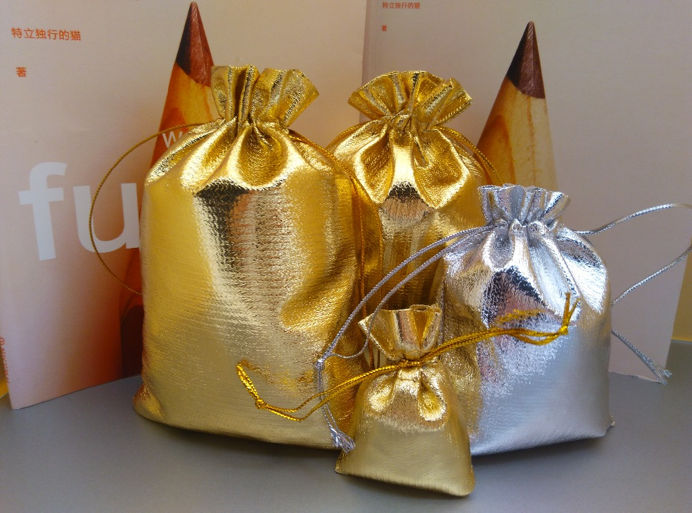 50pcs/lot 5x7 7x9 9x12 10x15cm Golden/Silver Color Drawstring Organza Bag Christmas Wedding Gift Jewelry Packaging Bags