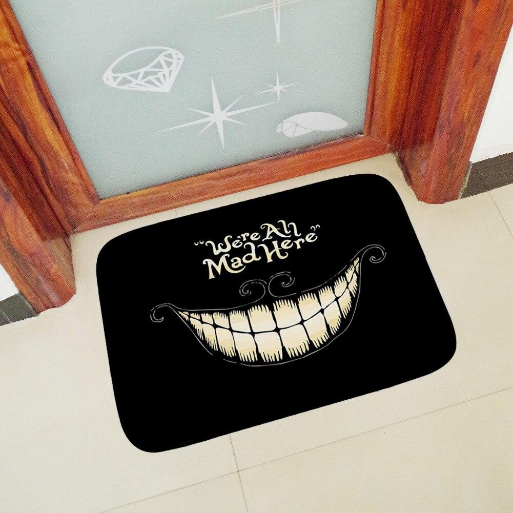 Honlaker We re All Mad Here Doormat Floor Mat Home Creative Mat Super Soft Absorbent Bathroom Door Mat Door Entrance Mat