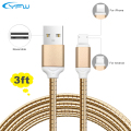 YFW 2 in 1 QC 3.0 Quick Charger Cable Dual Sided USB Metal Cables USB Data Sync Cord For Lightning iPhone and Micro USB Android