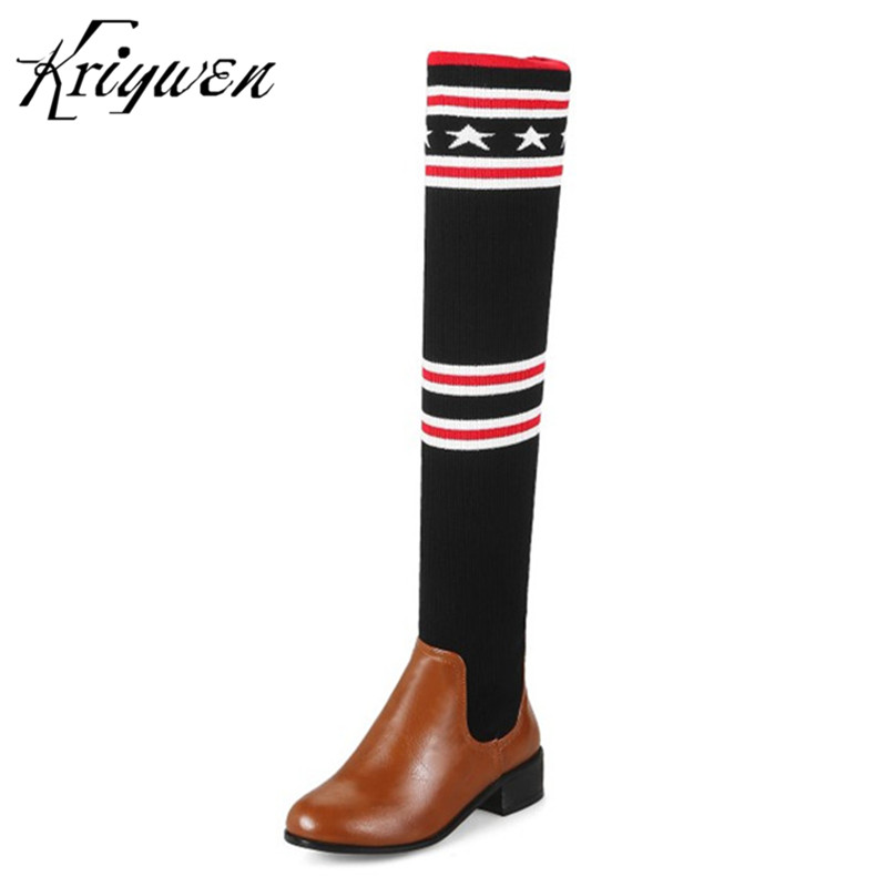 Kriywen 2018 Newest Women Long Boots Woman Fashion Motorcycle Boots Casual nitting Shoes Lady Botas bottes d hiver pour femmes