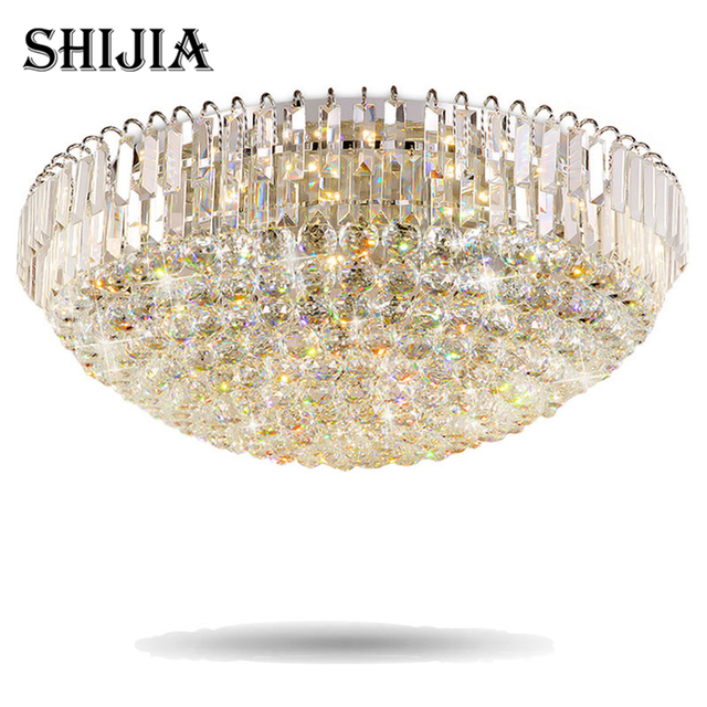 Modern LED Crystal Ceiling Lights Remote Control For Restaurant Bar Cafe Garment Shop Living Room Bedroom