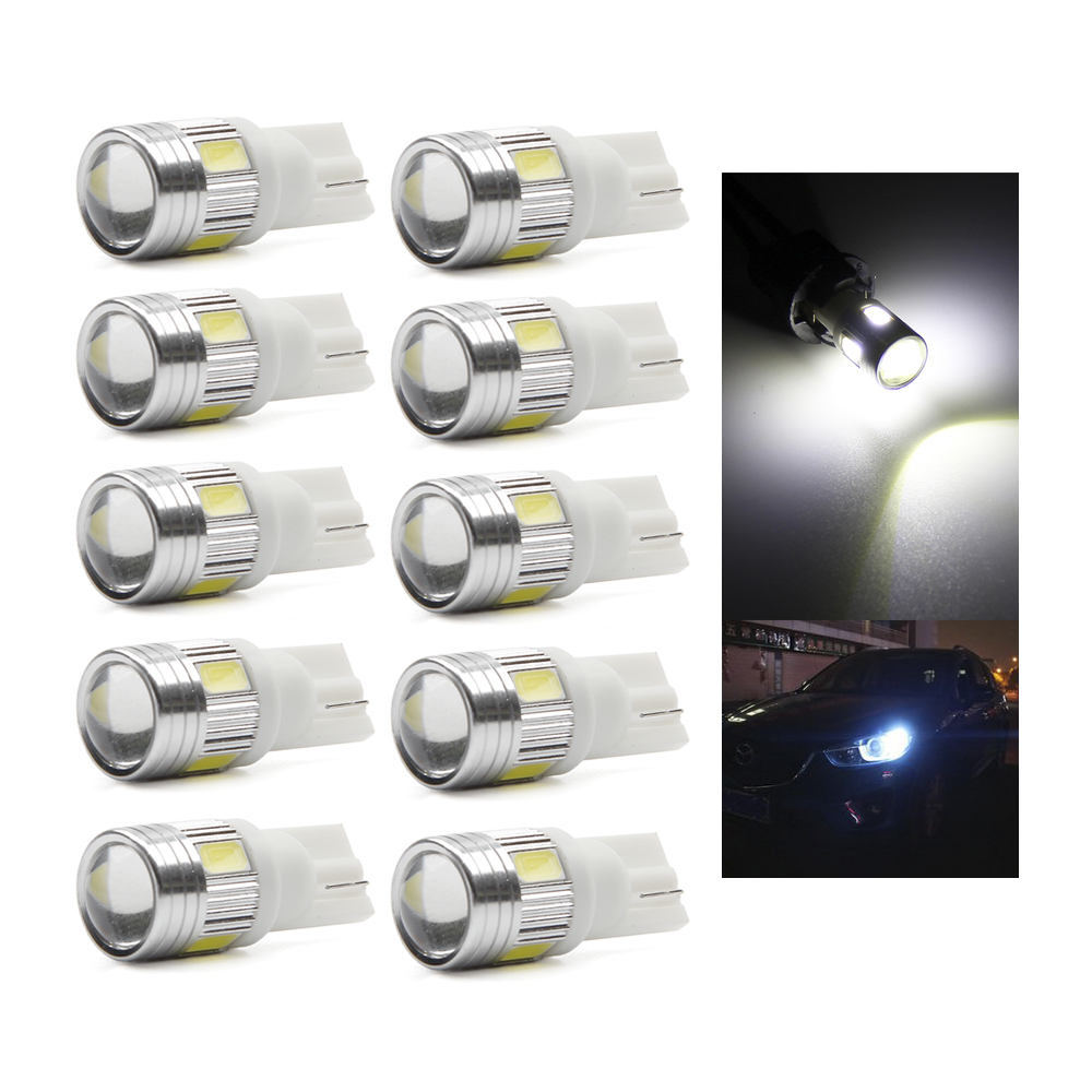 10Pcs T10 W5W 168 194 SMD 5630 T10 LED Wedge Light Side Bulb For Car Tail light Side Parking Dome Door Map light