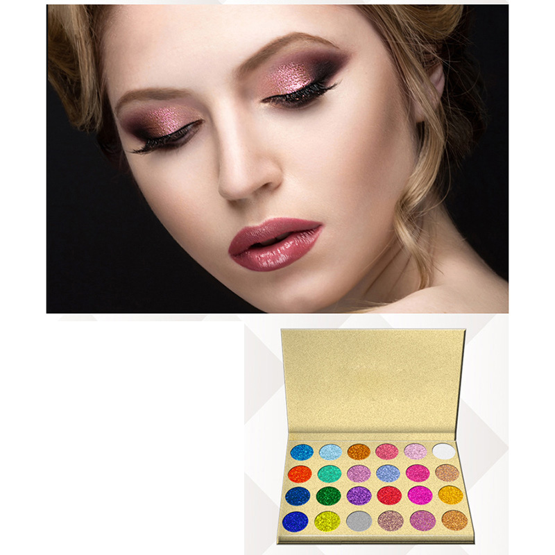 24 Colors Glitter Eyeshadow Palette Pressed Powder Rainbow Diamond Eye Shadow Makeup Palette Nude Shimmer Smokey Eyes Cosmetics