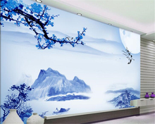 beibehang Classic personality wall paper in the blue landscape crane painting background decoration 3d wallpaper